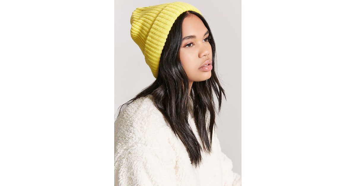 Lyst - Forever 21 Ribbed Knit Beanie in Yellow 0529c56a833