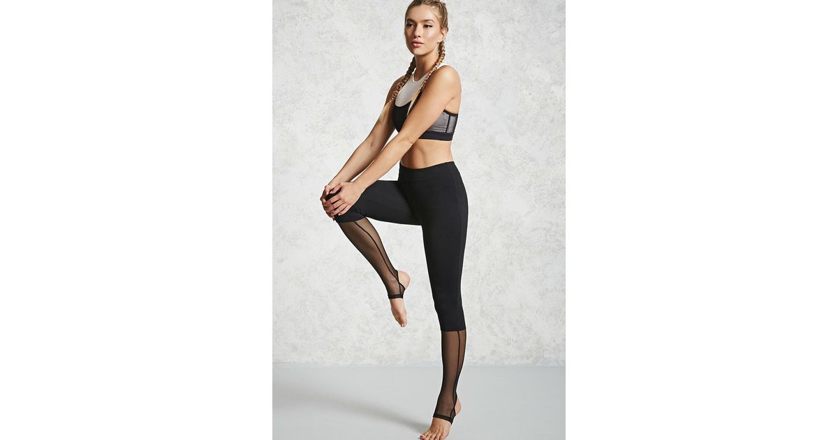 8241f39337a802 Forever 21 Active Mesh Panel Leggings in Black - Lyst