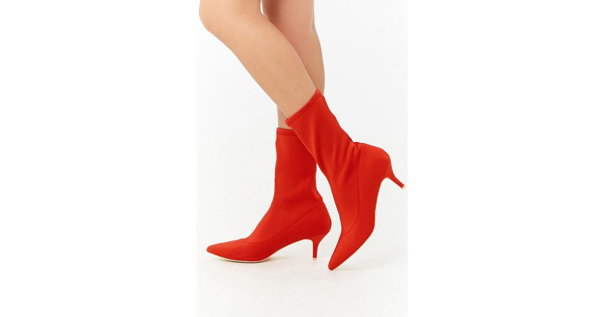 837de6667975 Red Kitten Heel Sock Boots - About Sock Photos