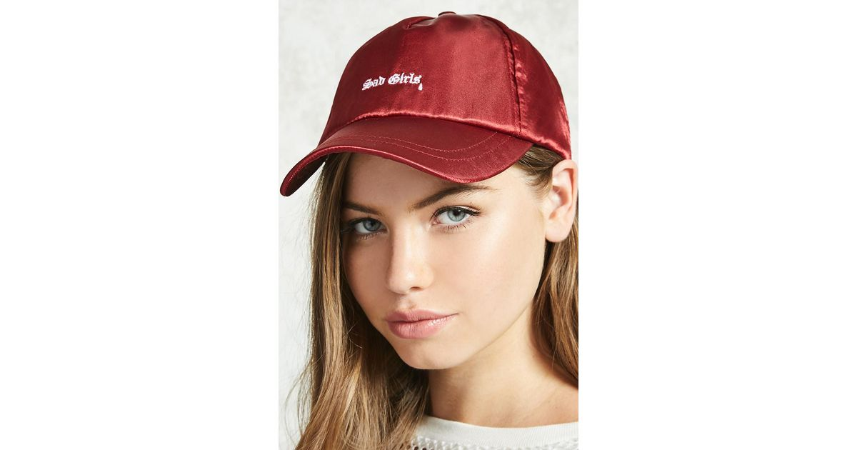 Forever 21 Satin Sad Girls Dad Cap in Red - Lyst 8cbfc09fa7e2