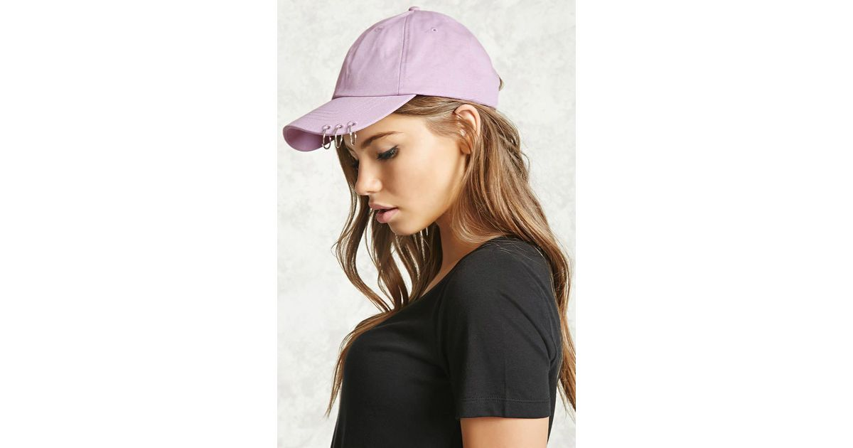 27eceebcedb Lyst - Forever 21 Satin Baseball Cap in Purple - Save 63%