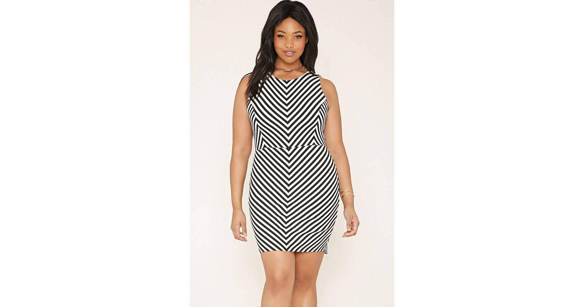 7a41ac25db Lyst - Forever 21 Plus Size Chevron Dress in Gray