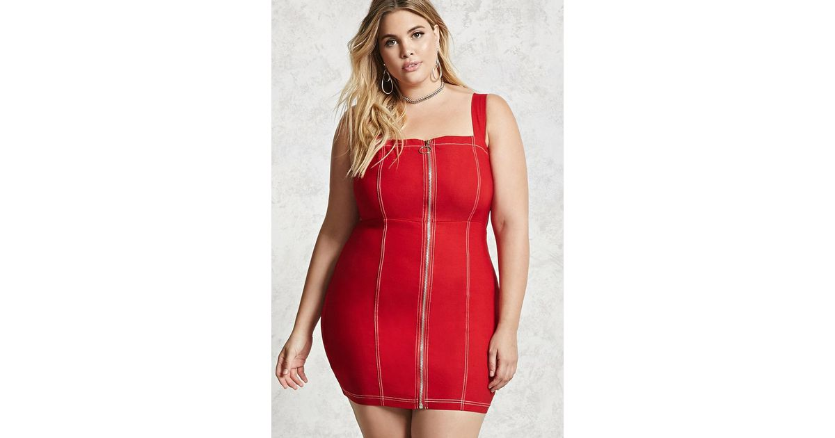 Forever 21 Plus Size Zipper Bodycon Dress in Red - Lyst