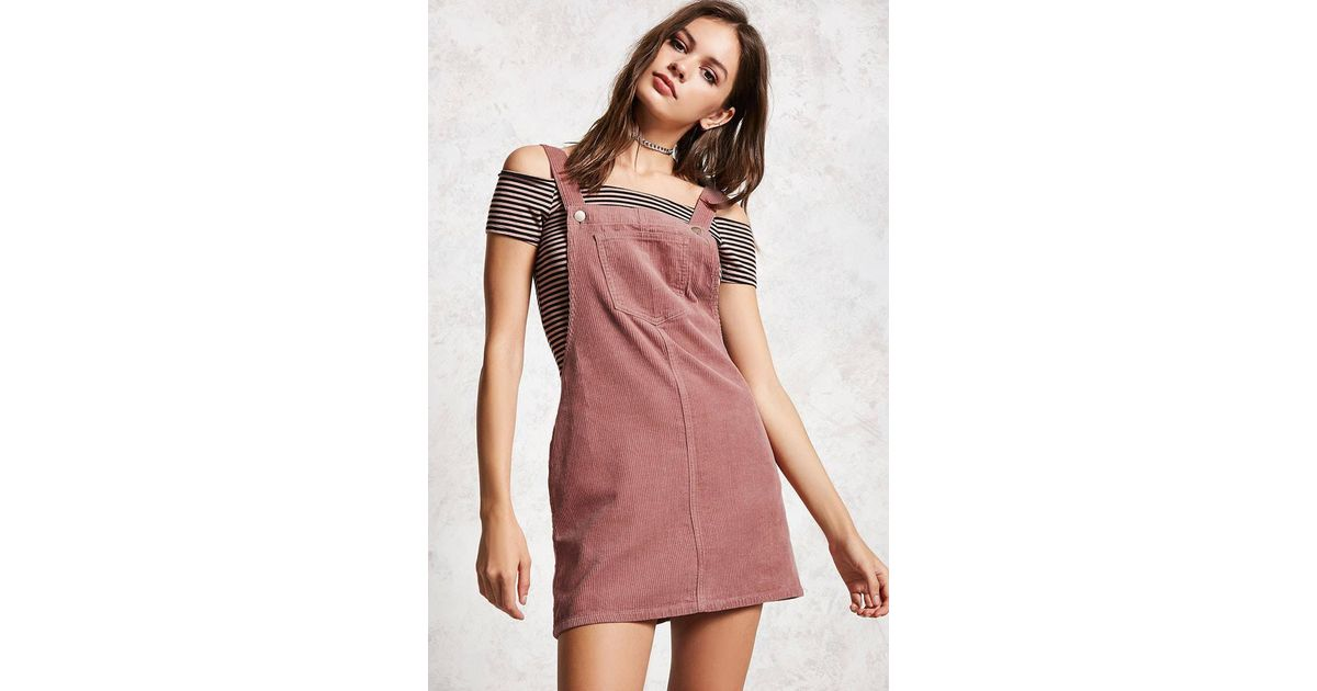 a2bae7fcdf5 Forever 21 Corduroy Overall Dress in Purple - Lyst