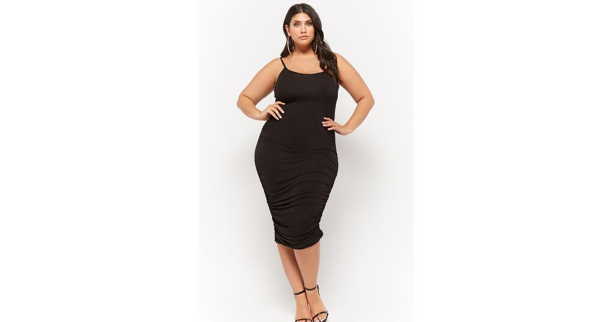 fd0610c1265 Forever 21 Women s Plus Size Slub Knit Ruched Cami Midi Dress in Black -  Lyst