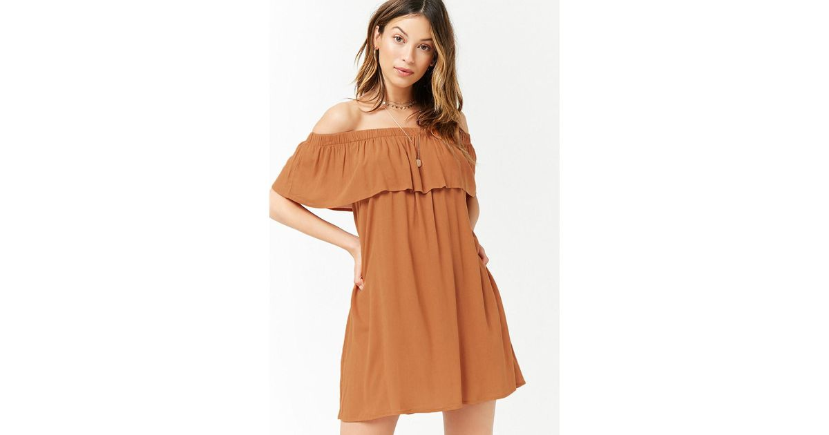 446115530331 Lyst - Forever 21 Women s Flounce Off-the-shoulder Dress in Brown