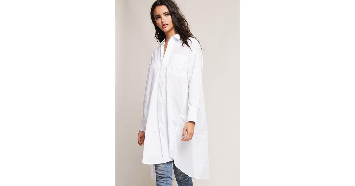 e1e21c34c016 Lyst - Forever 21 Oversized Button-front Shirt in White