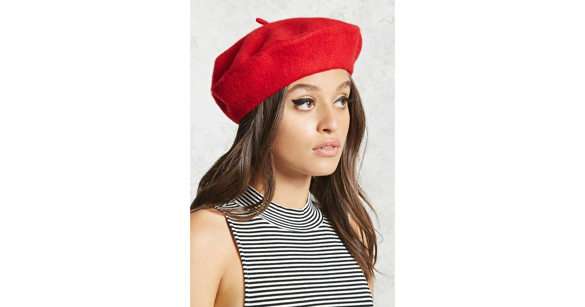 3bb2d5b8bb2ee Forever 21 Wool Beret in Red - Lyst