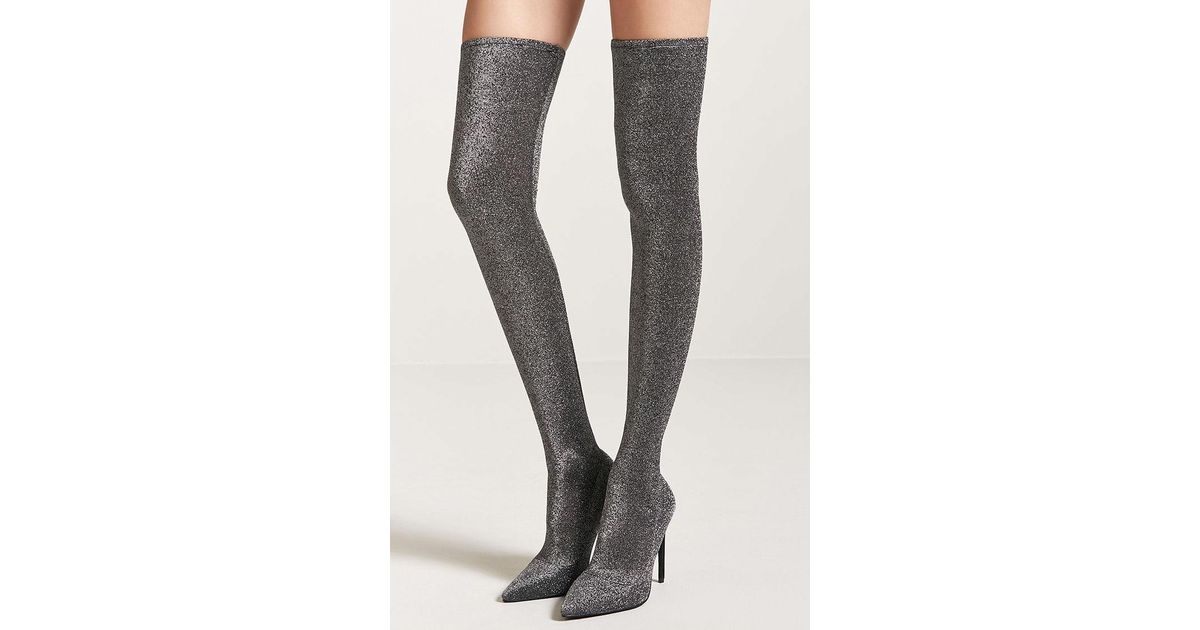1787f2927e4 Forever 21 Metallic Knit Over-the-knee Sock Boots in Metallic - Lyst