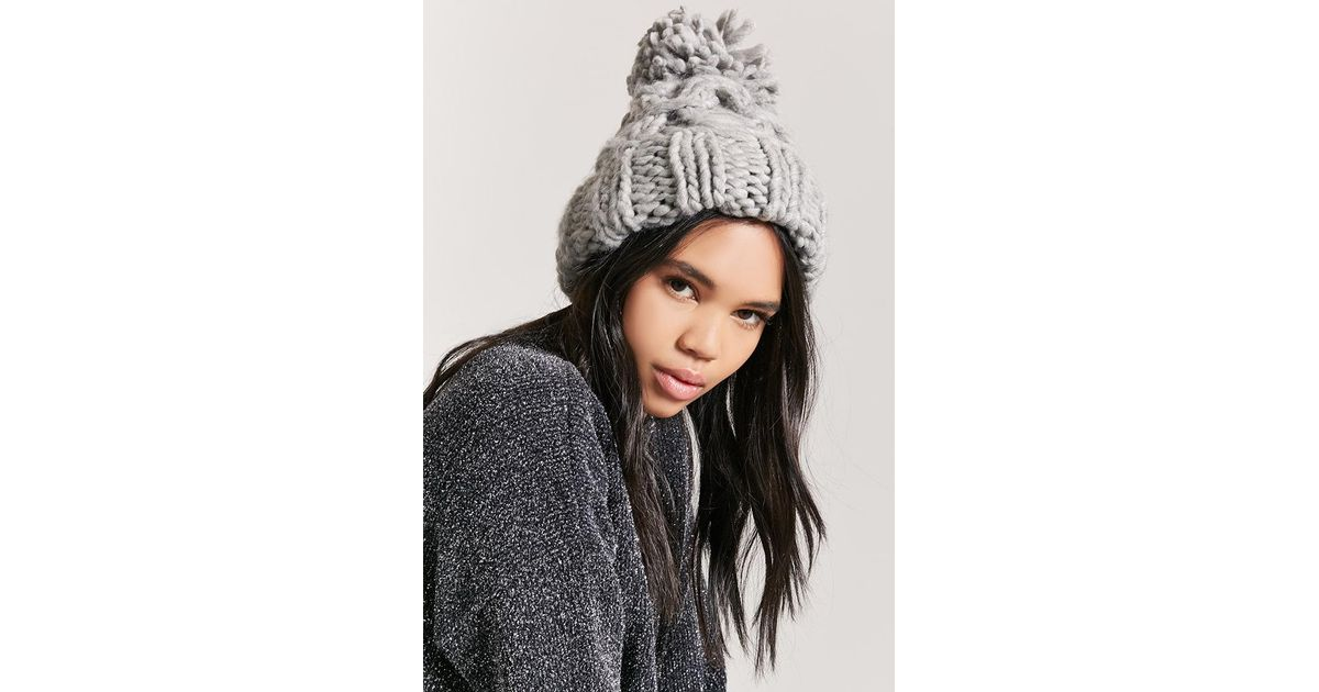 9bc50c6cd Forever 21 Gray Chunky Cable-knit Beanie Hat