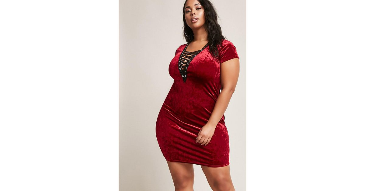 57320e57427 Forever 21 Plus Size Crushed Velvet Lace-up Dress in Red - Lyst