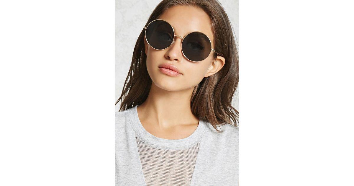 d66d358803 Forever 21 Oversized Round Sunglasses - Lyst