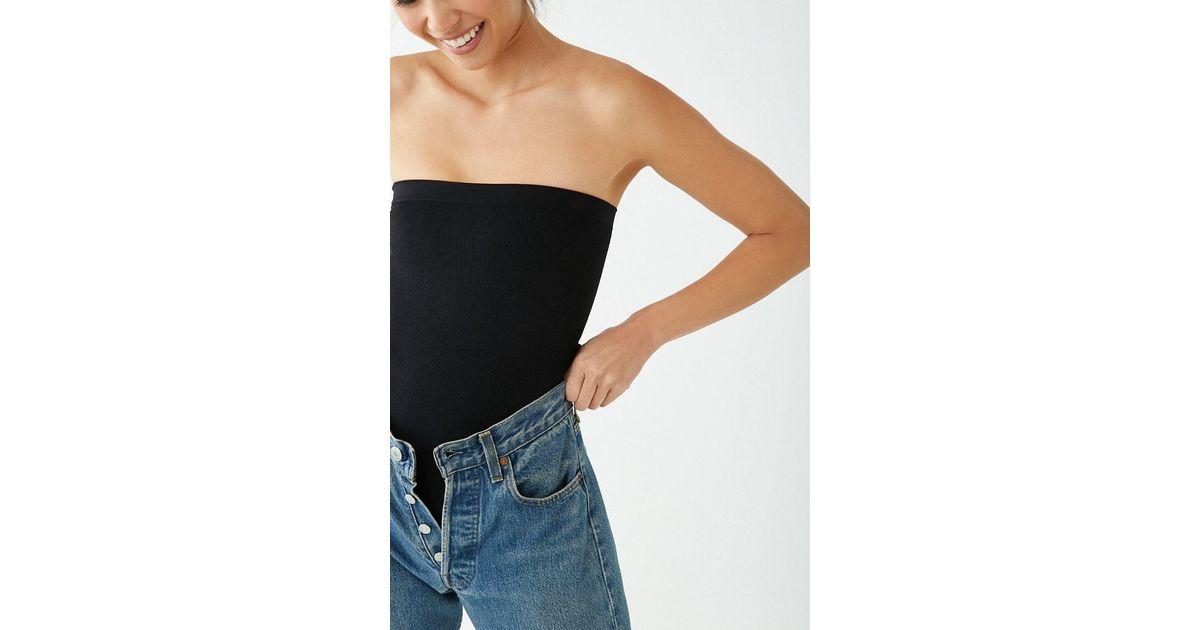 Forever 21 Women's Seamless Tube Thong Bodysuit in Black ...