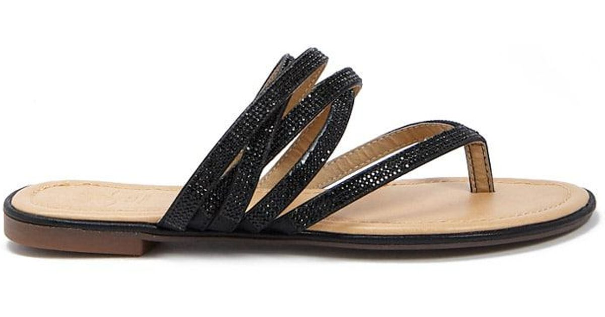 d5b5e75fb2c629 Lyst - Forever 21 Faux Gem Strappy Thong Sandals in Black