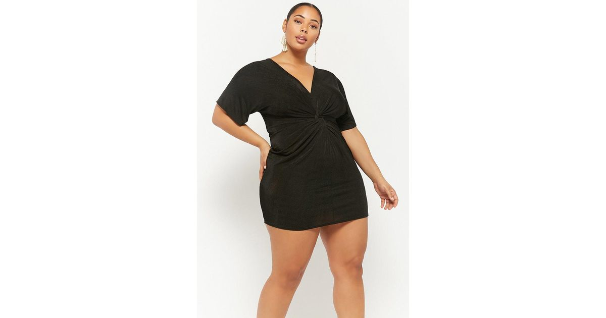 115bd6a2332 Lyst - Forever 21 Plus Size Plunging Tulip Dress in Black