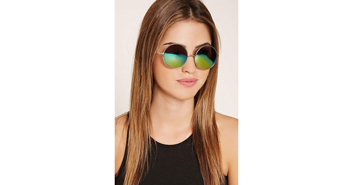 85bd38d04 Lyst - Forever 21 Mirrored Round Sunglasses