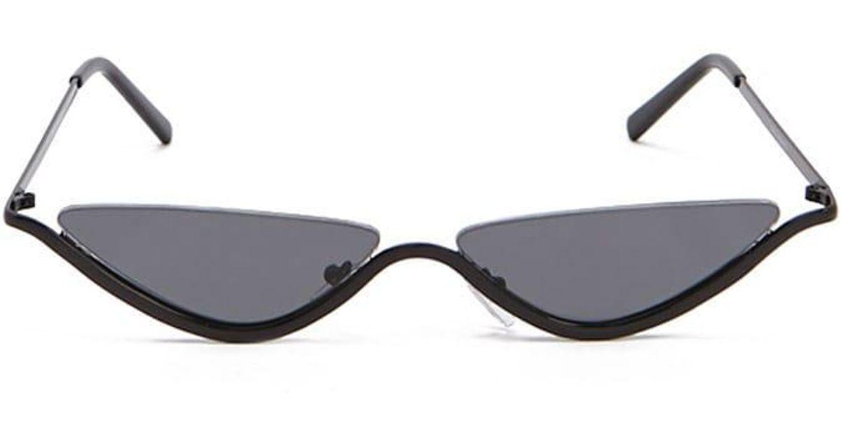 04c981f75 Lyst - Forever 21 Premium Skinny Cat-eye Sunglasses in Black