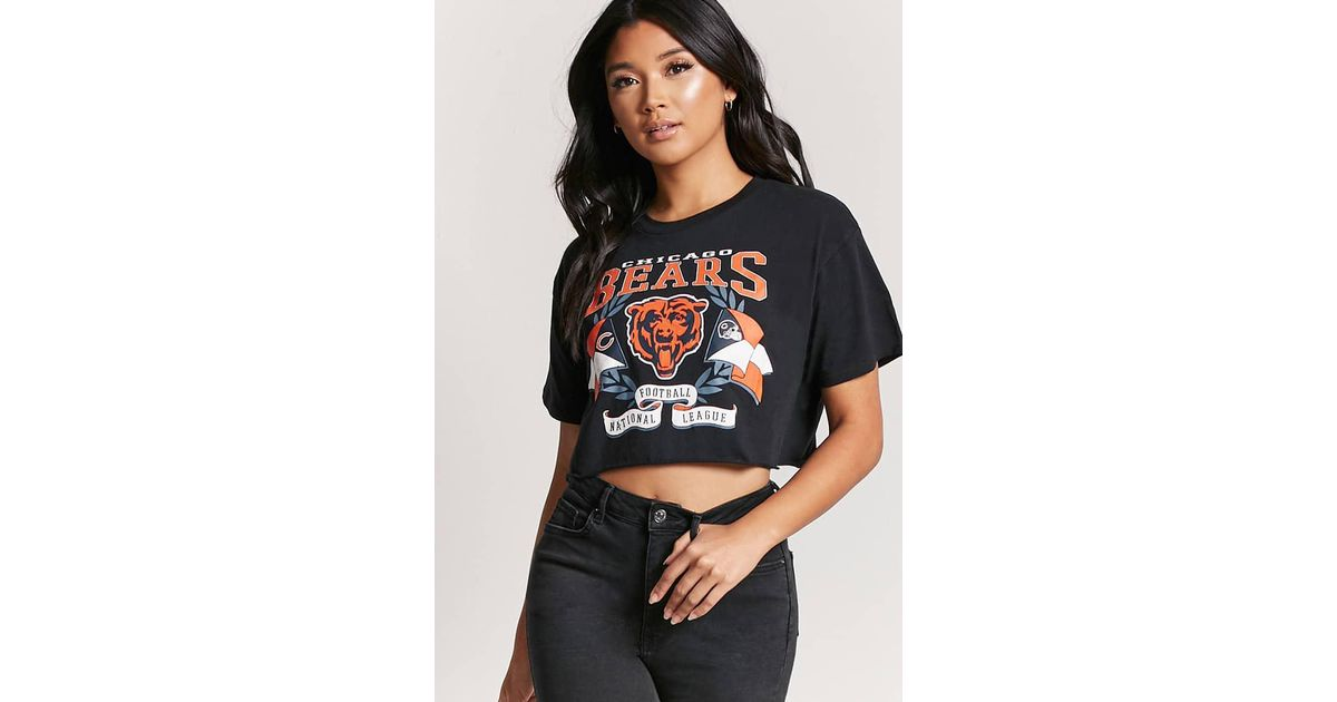 b8ce2c2799d55e Lyst - Forever 21 Nfl Chicago Bears Graphic Crop Top in Black
