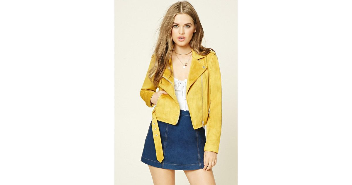 5d20c39aa Forever 21 Yellow Faux Suede Moto Jacket