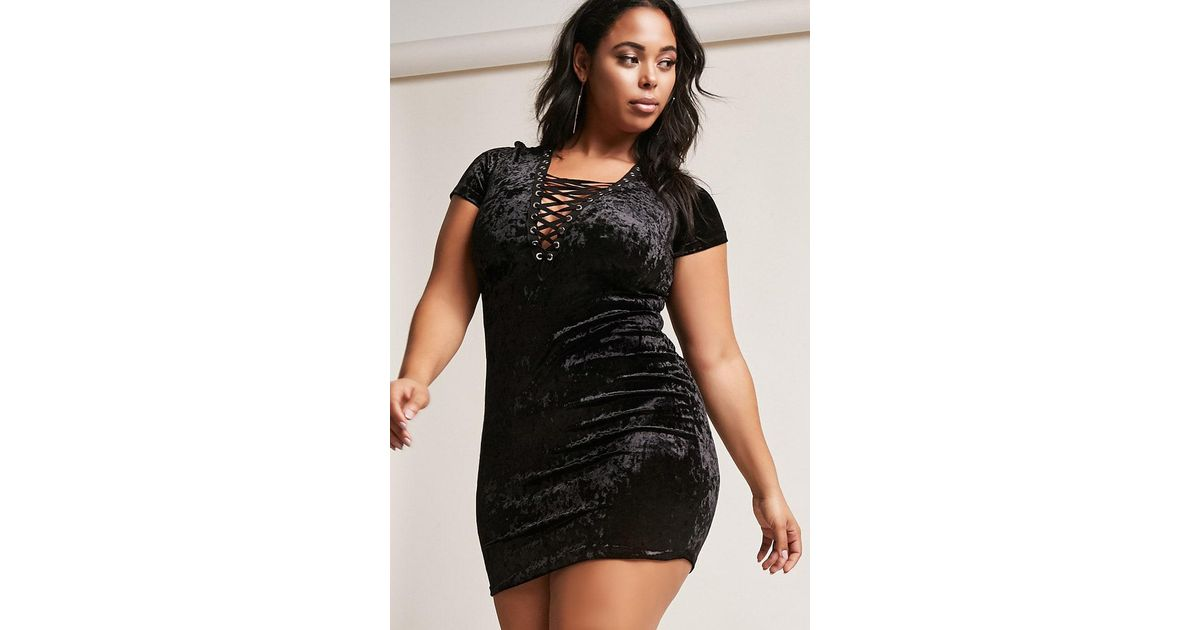 929ae9d3d19 Forever 21 Plus Size Crushed Velvet Lace-up Dress in Black - Lyst
