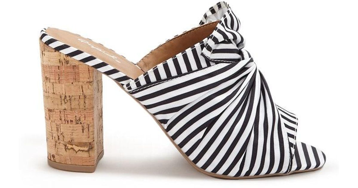 5a6b9e070f0 Lyst - Forever 21 Qupid Striped Twist-front Slide Heels in White