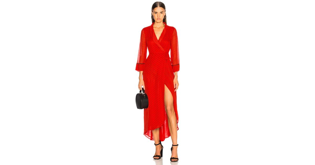 b71829be191 Ganni Printed Georgette Wrap Dress In Fiery Red in Red - Save 52% - Lyst