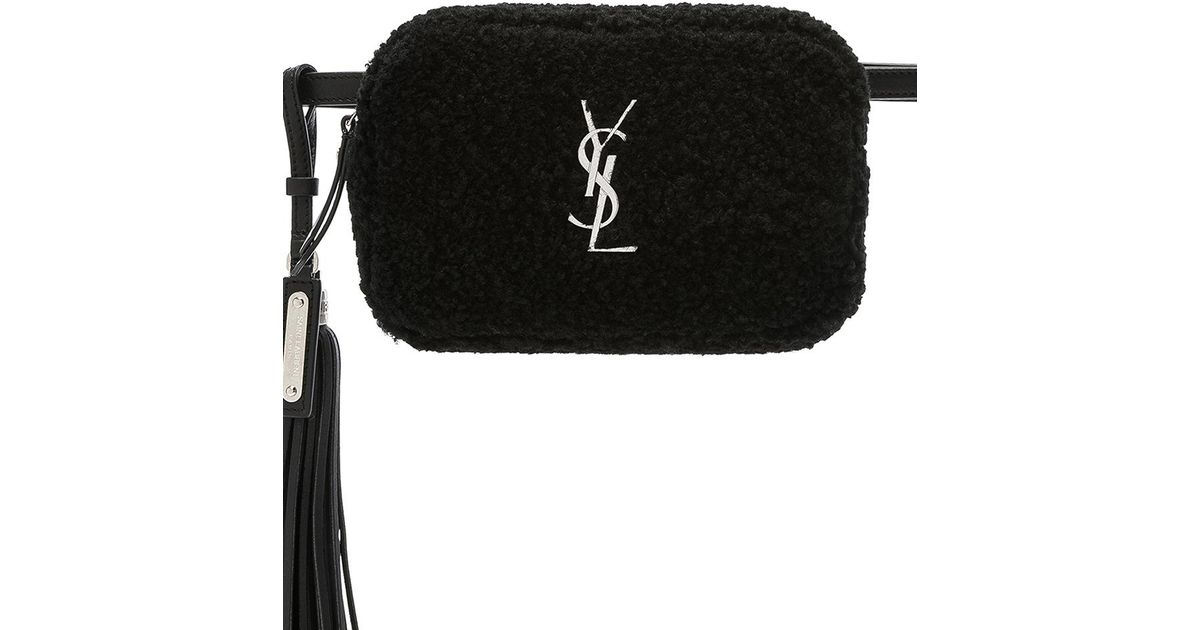 af35bb911 Saint Laurent Shearling Monogramme Lou Hip Belt With Pouch in Black - Lyst