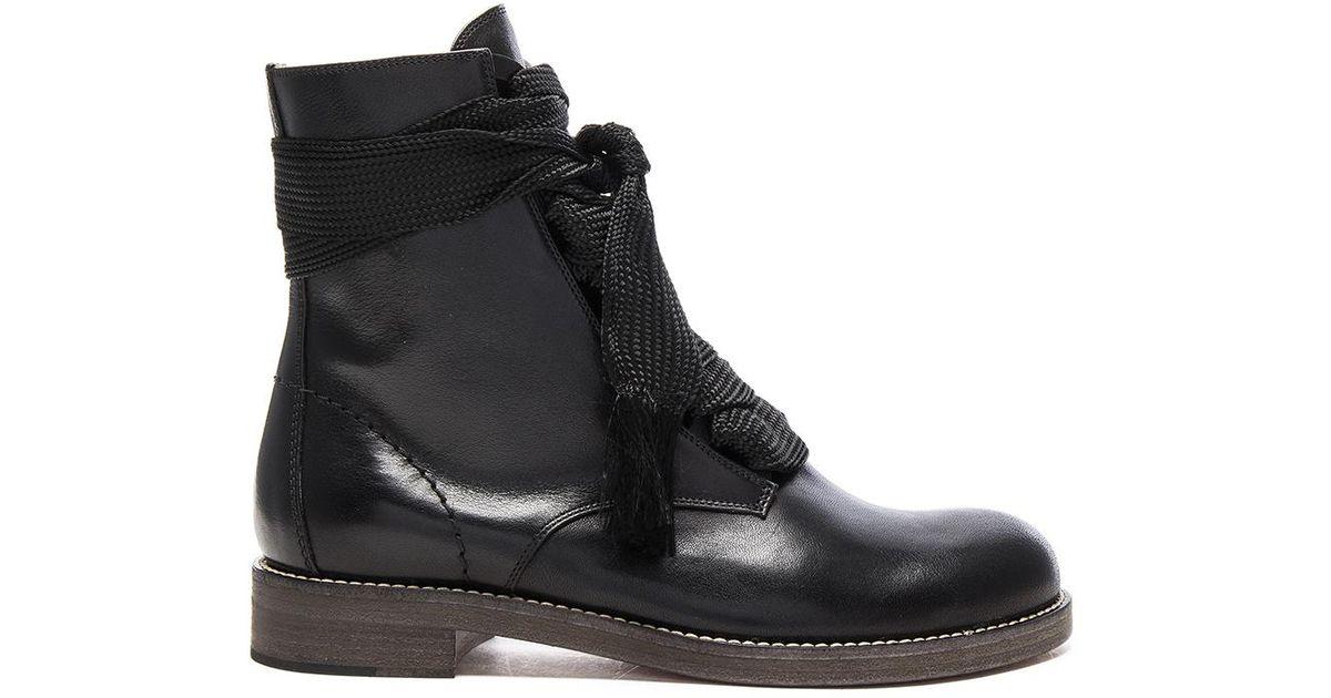 880553e326 Chloé Black Leather Harper Lace Up Boots