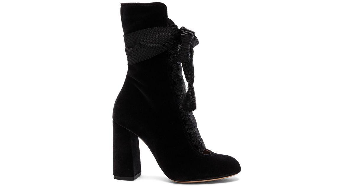 5961c93c Chloé Black Velvet Harper Lace Up Boots