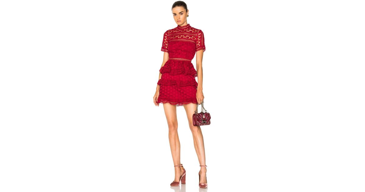 Women's Red High Neck Star Lace Paneled Dress by Self Portrait