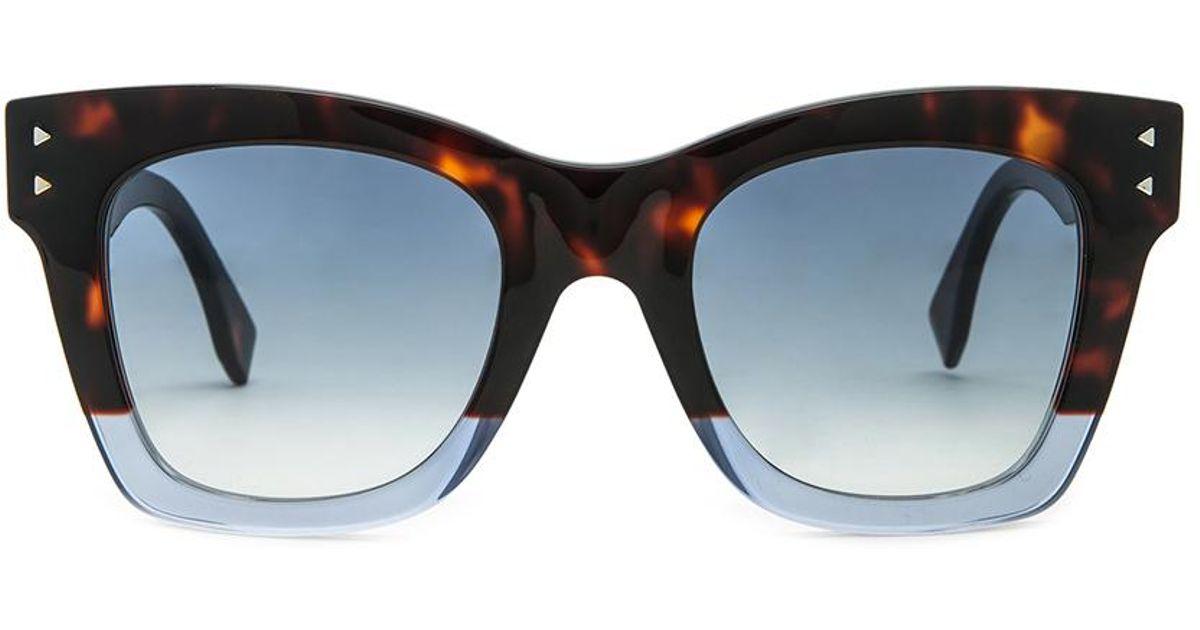 da2f8687f0683 Lyst - Fendi Color Block Ff 0237 Ipr Havana Transparent Blue Square  Sunglasses in Blue
