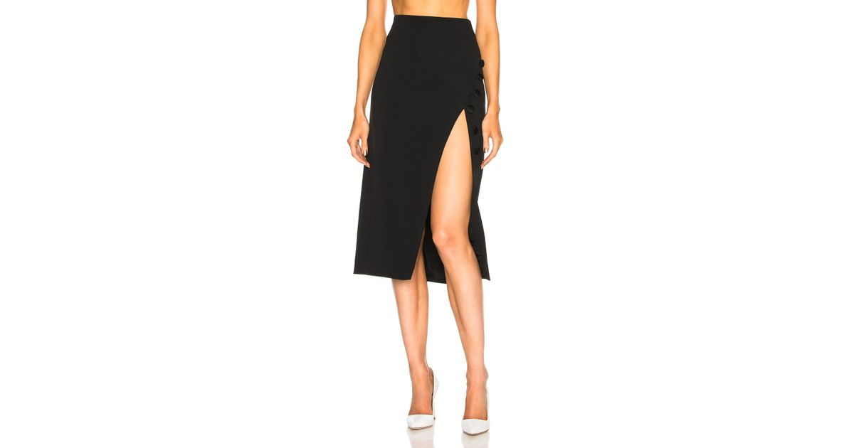 a5c87f8b721ed0 David Koma Button Detail Side Slit Pencil Skirt in Black - Lyst