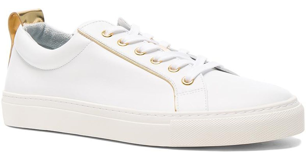 Balmain Leather Gold Piping Sneakers in