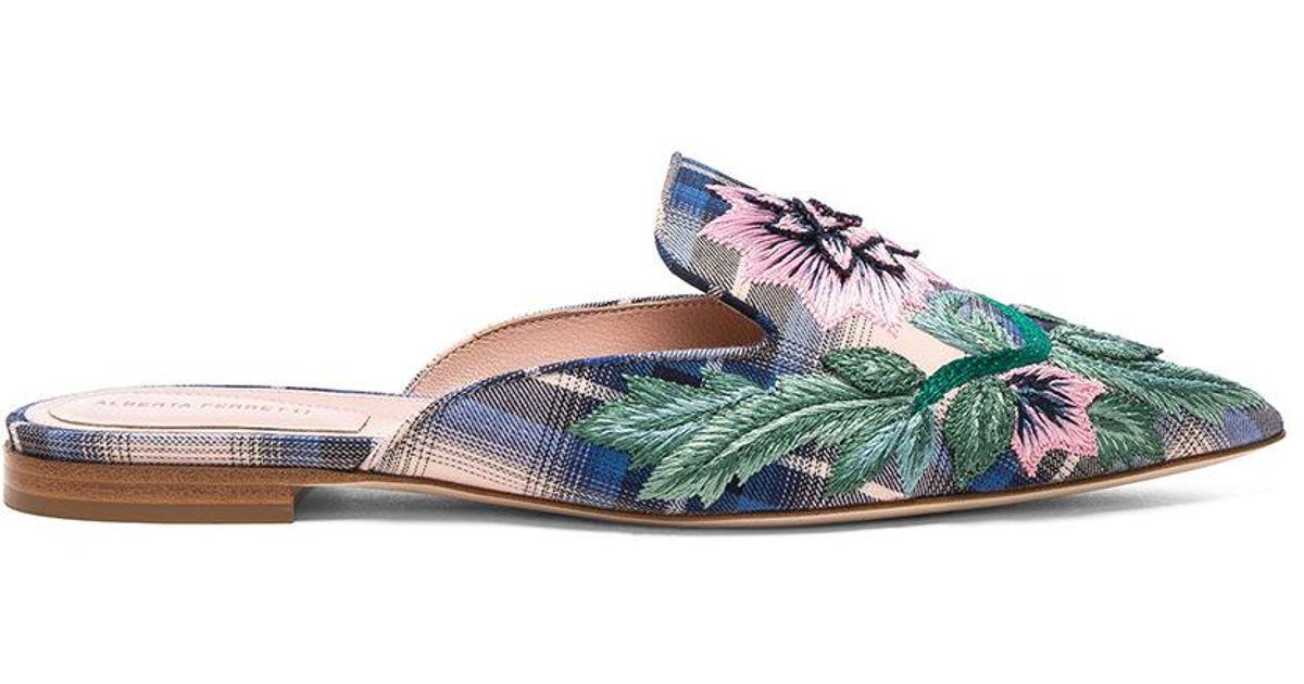 Alberta Ferretti Flower Embroidered Plaid Mules in . MSPJO