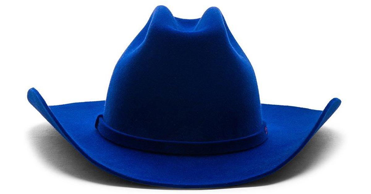 7fb2baf3675 Lyst - CALVIN KLEIN 205W39NYC Rabbit Fur Felt Cowboy Hat in Blue