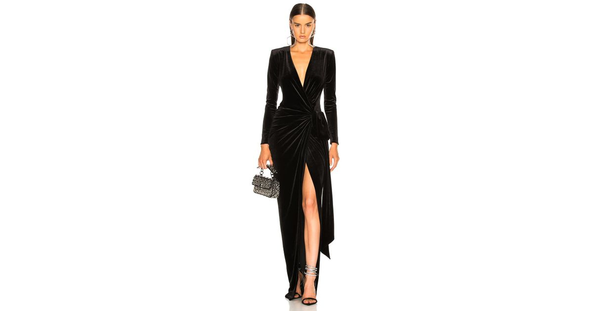 6ea9ef7c46 Alexandre Vauthier Velvet Wrap Dress in Black - Lyst