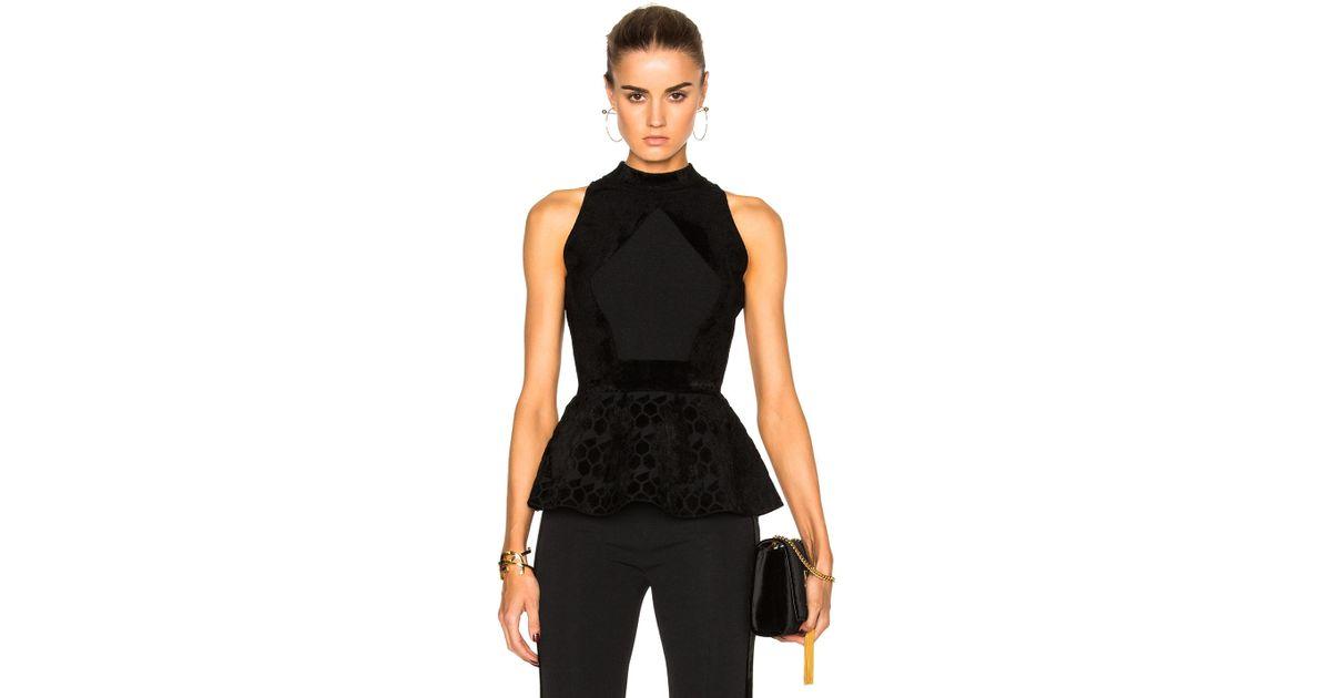 95fed05754c4c0 Roland Mouret Cullen Hexagonal Velvet Knit Top in Black - Lyst