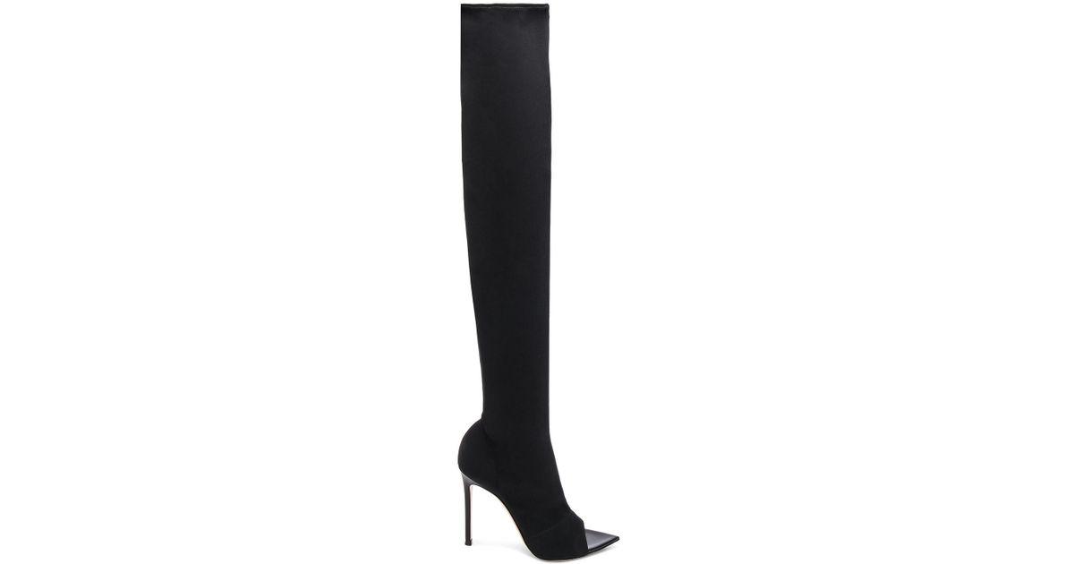 e415d740b21 Gianvito Rossi Black Gotham Cuissard Peep Toe Thigh High Boots