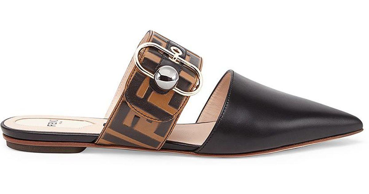 71220fe71ae Lyst - Fendi Logo Print Leather Slides in Brown