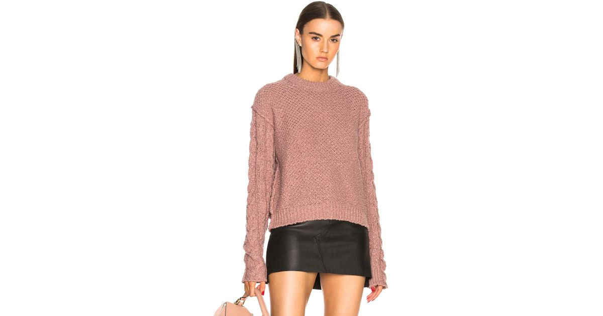 Lyst - Acne Studios Hila Cable Sweater in Pink 4a43435aac7
