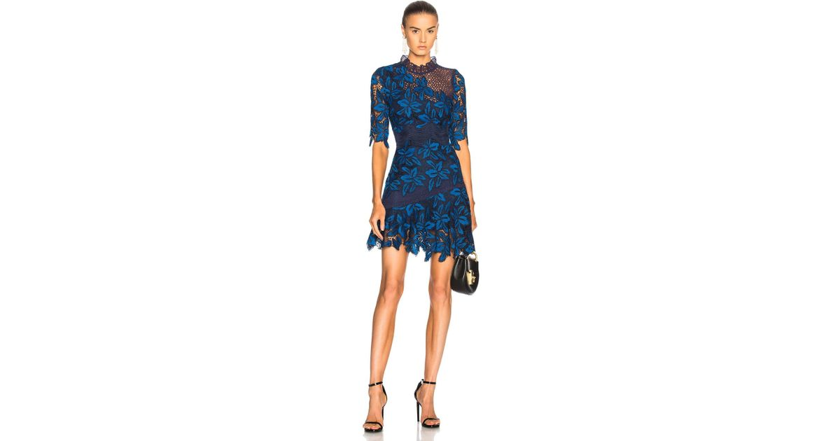 Sea Mixed Lace Dress In Blue Multi