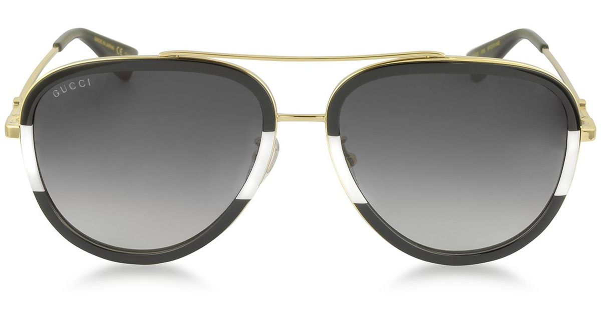 ffda8b042fd0e Lyst - Gucci GG0062S 006 Black white Acetate And Gold Metal Aviator Women s  Sunglasses in Metallic