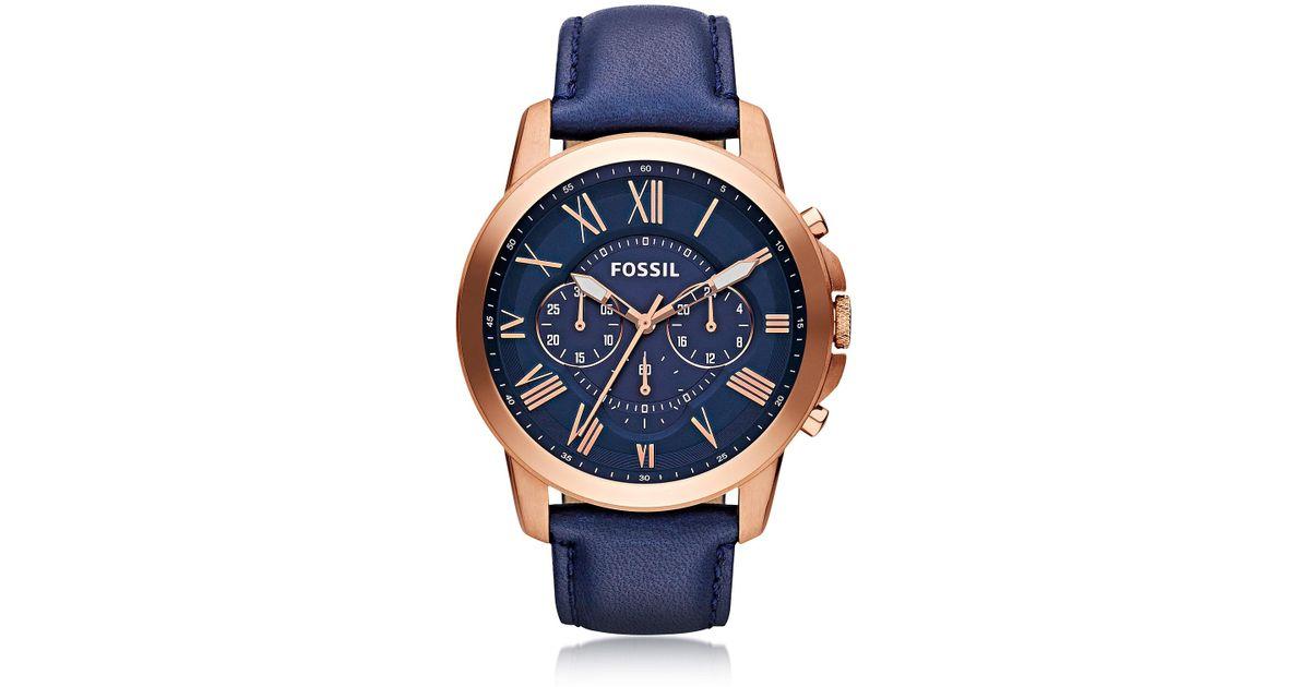 e808b29c29e5 Grant Reloj Cronógrafo para Hombre de Acero inoxidable Oro Rosa y Correa de  Cuero Azul Oscuro Fossil de hombre de color Azul - Lyst