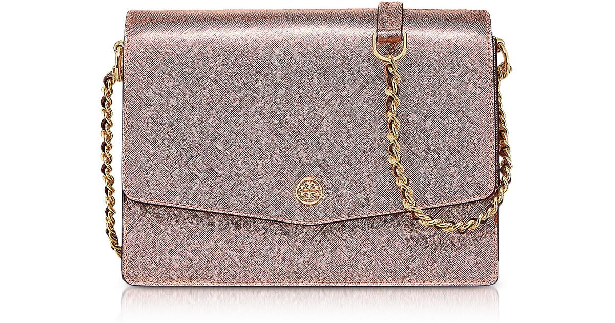 73aada1329 Tory Burch Metallic Light Rose Gold Robinson Metallic Convertible Shoulder  Bag - Lyst