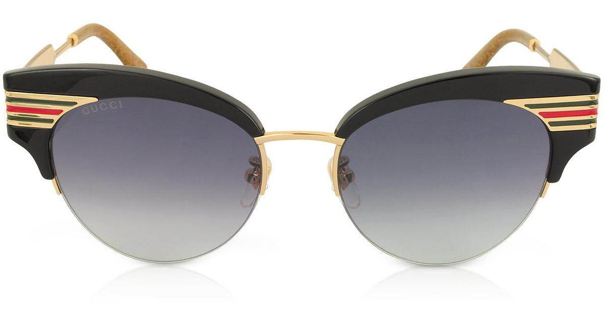 fd8f4b351a28f Lyst - Gucci GG0283S Cat Eye Black Acetate Sunglasses W sylvie Web Temples  in Black