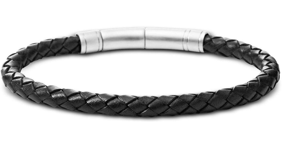 pas mal 7d11d 76e1d Black Skinny Braid Men's Bracelet Fossil pour homme