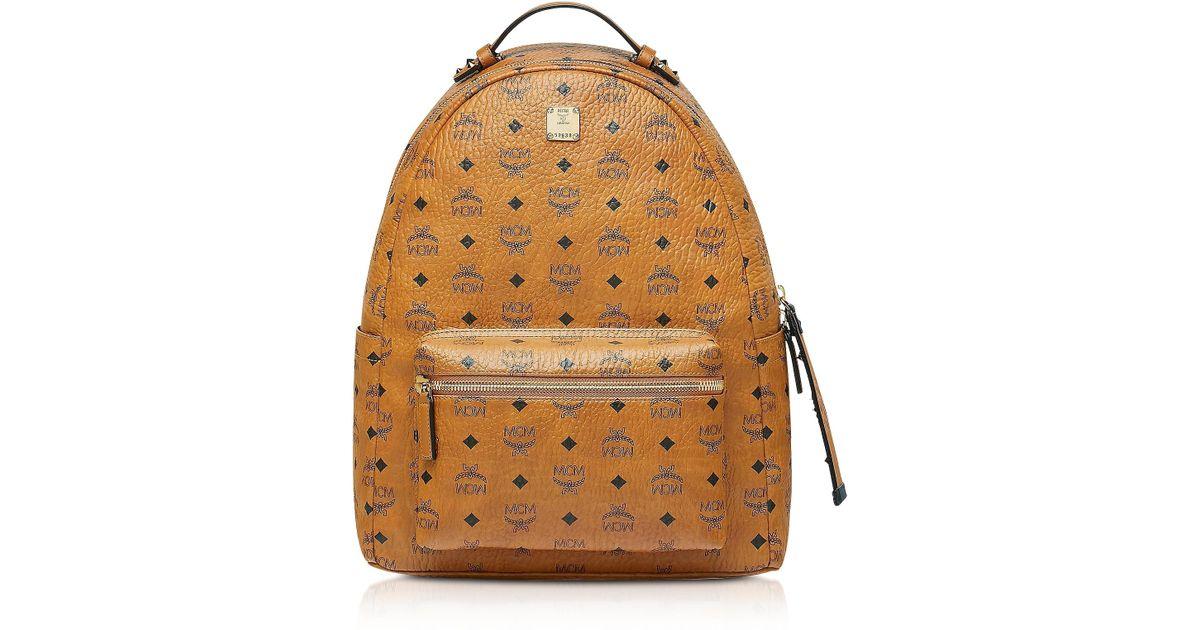 672ceee734de8 MCM Cognac Visetos Stark Backpack for Men - Lyst
