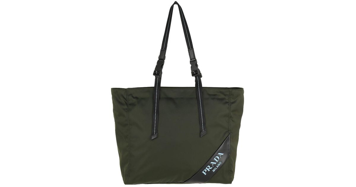 3ec35a368518 ... norway prada logo patch shopping bag nylon militare in green lyst 25b2a  80f36