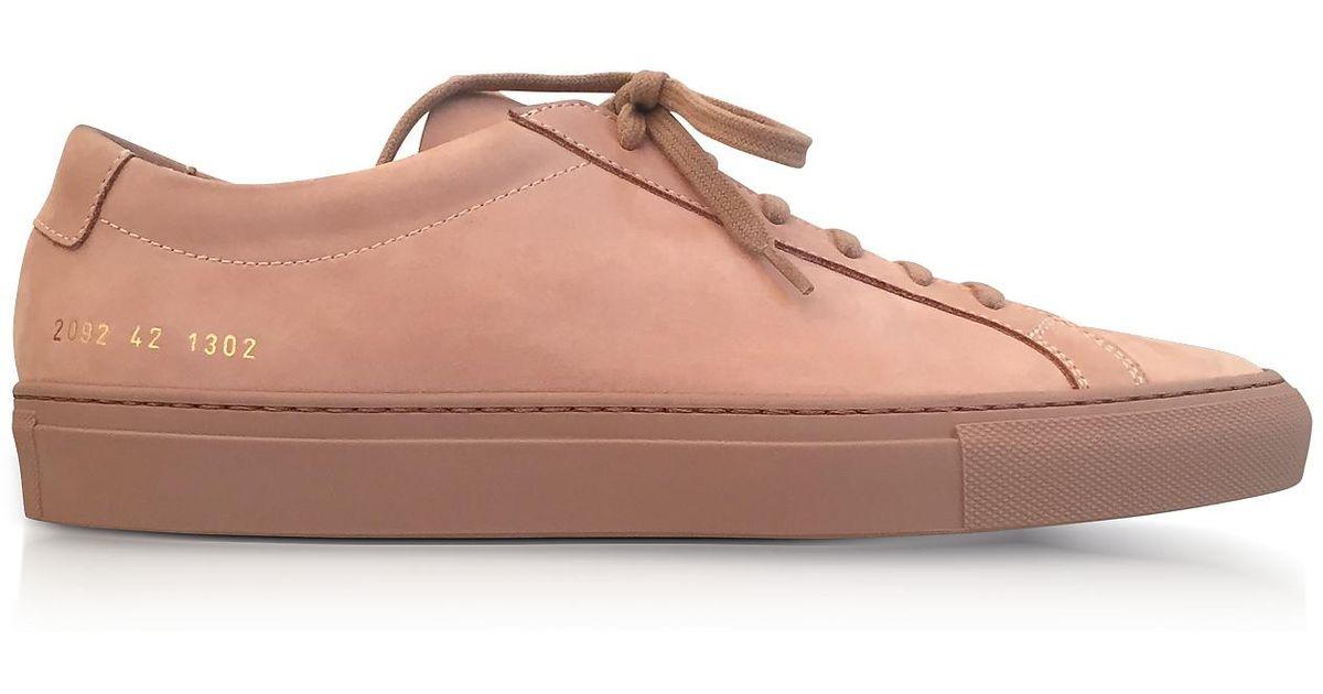 buy popular ef4ec f50d8 Common Projects Tan Nubuck Original Achilles Low Men s Sneakers in Brown  for Men - Lyst