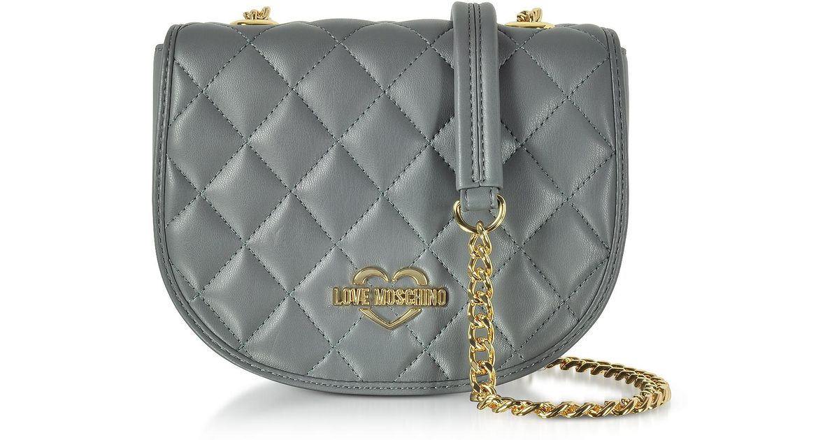 572eaa4adeb Lyst - Love Moschino Grey Superquilted Eco-leather Small Crossbody Bag in  Gray